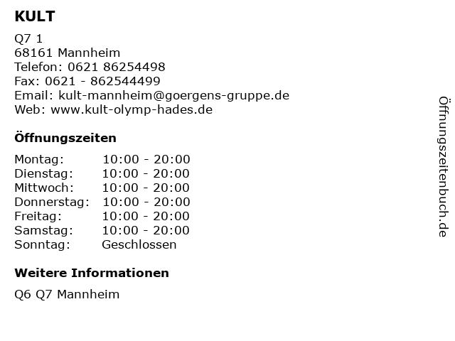 KULT in Mannheim: Adresse und Öffnungszeiten