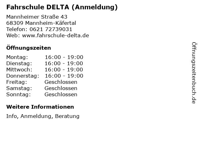 Fahrschule DELTA (Anmeldung) in Mannheim-Käfertal: Adresse und Öffnungszeiten