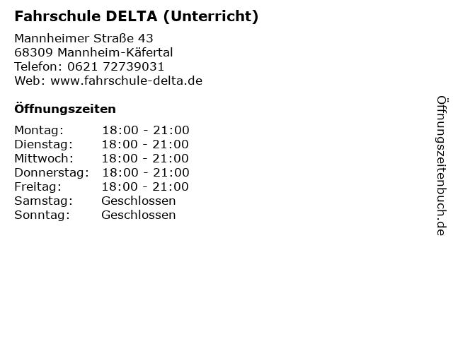 Fahrschule DELTA (Unterricht) in Mannheim-Käfertal: Adresse und Öffnungszeiten
