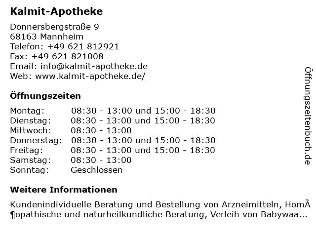 Kalmit-Apotheke in Mannheim: Adresse und Öffnungszeiten