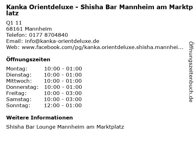 Kanka Orientdeluxe - Shisha Bar Mannheim am Marktplatz in Mannheim: Adresse und Öffnungszeiten