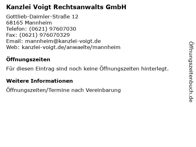 Kanzlei Voigt Rechtsanwalts GmbH in Mannheim: Adresse und Öffnungszeiten