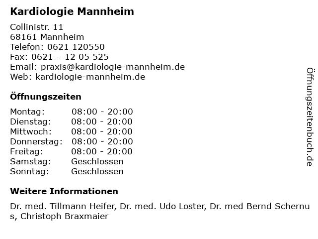 Kardiologie Mannheim in Mannheim: Adresse und Öffnungszeiten