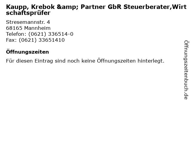 Kaupp, Krebok & Partner GbR Steuerberater,Wirtschaftsprüfer in Mannheim: Adresse und Öffnungszeiten