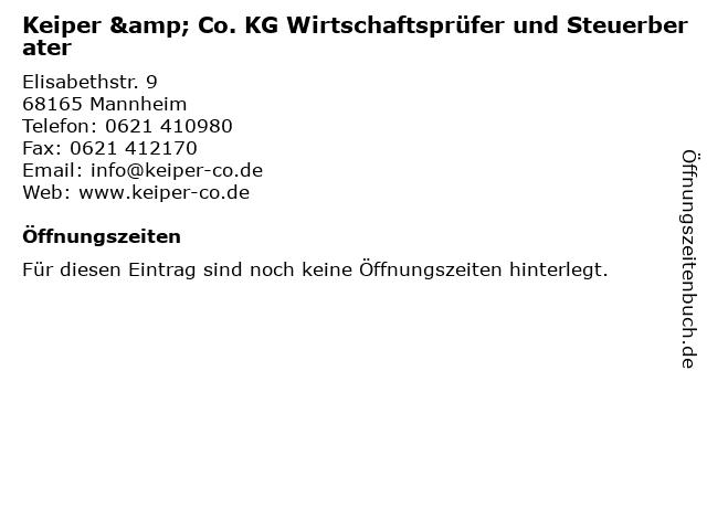 Keiper & Co. KG Wirtschaftsprüfer und Steuerberater in Mannheim: Adresse und Öffnungszeiten
