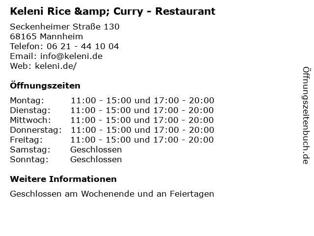Keleni Rice & Curry - Restaurant in Mannheim: Adresse und Öffnungszeiten