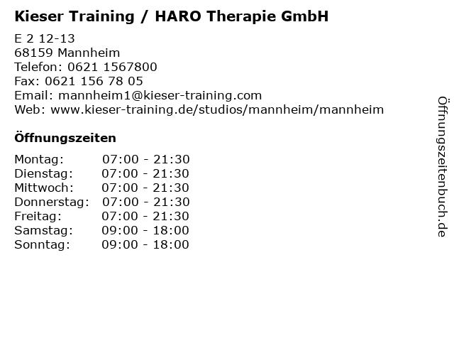 Kieser Training / HARO Therapie GmbH in Mannheim: Adresse und Öffnungszeiten