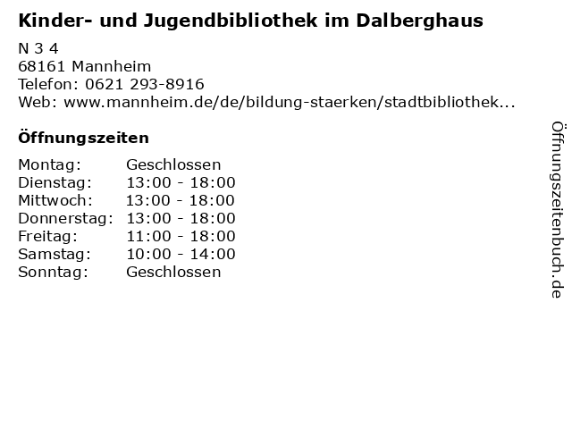 Kinder- und Jugendbibliothek im Dalberghaus in Mannheim: Adresse und Öffnungszeiten