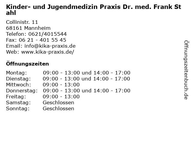 Kinder- und Jugendmedizin Praxis Dr. med. Frank Stahl in Mannheim: Adresse und Öffnungszeiten