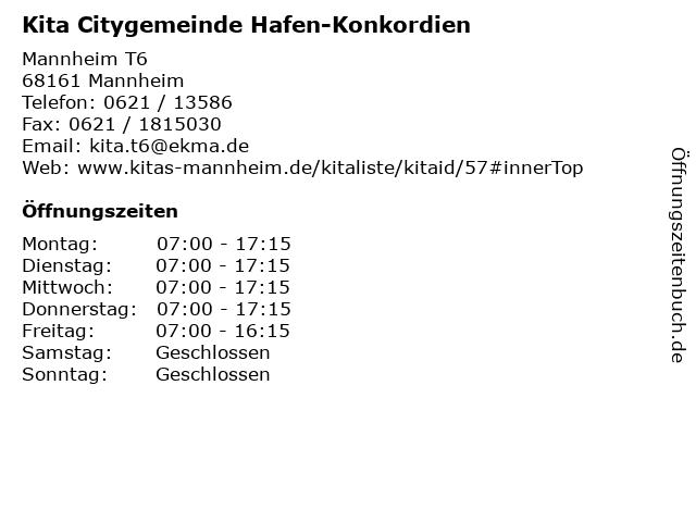 Kita Citygemeinde Hafen-Konkordien in Mannheim: Adresse und Öffnungszeiten