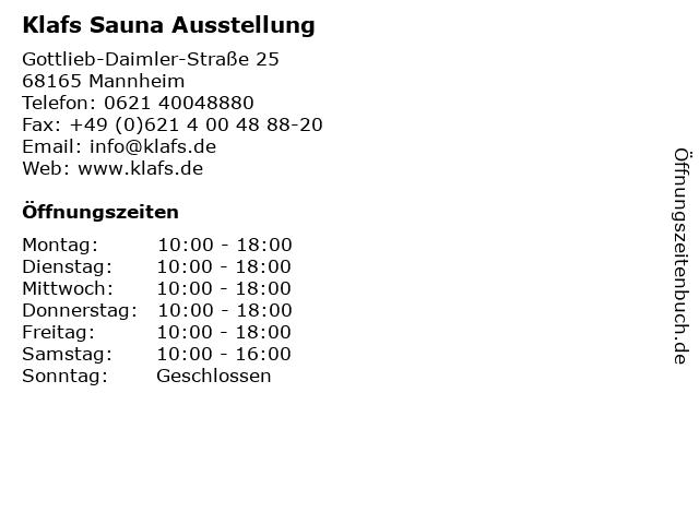 Klafs Sauna Ausstellung in Mannheim: Adresse und Öffnungszeiten