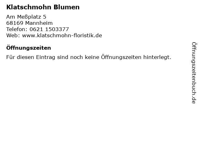 Klatschmohn Blumen in Mannheim: Adresse und Öffnungszeiten