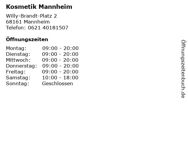 Kosmetik Mannheim in Mannheim: Adresse und Öffnungszeiten
