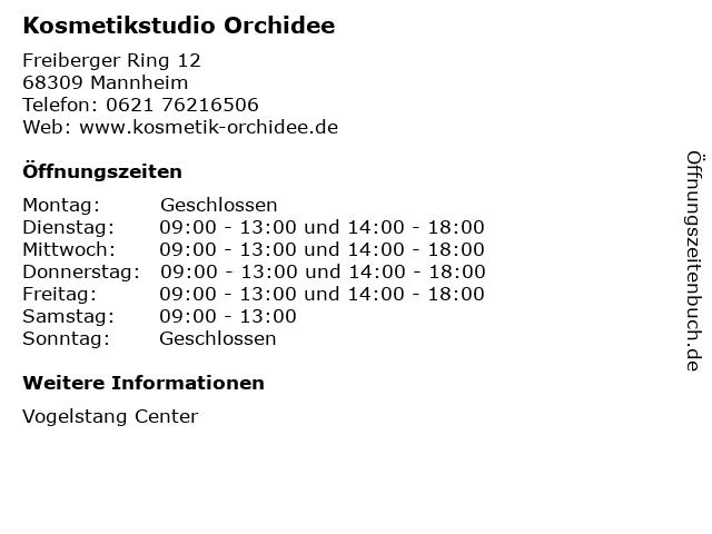 Kosmetikstudio Orchidee in Mannheim: Adresse und Öffnungszeiten