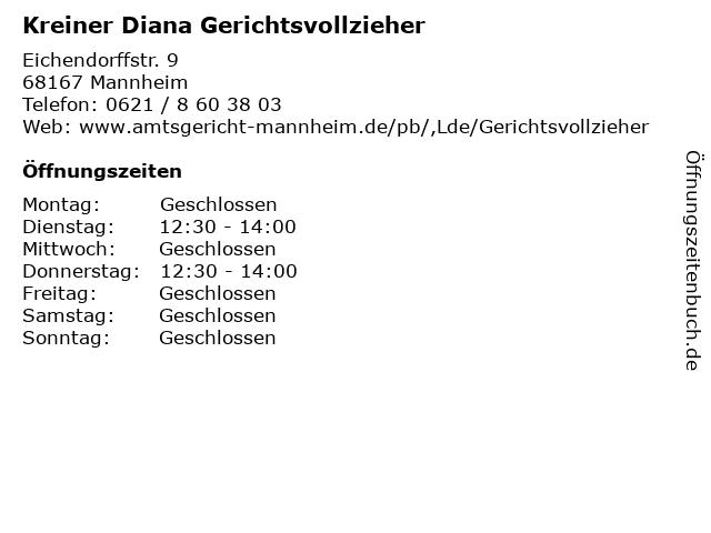 Kreiner Diana Gerichtsvollzieher in Mannheim: Adresse und Öffnungszeiten