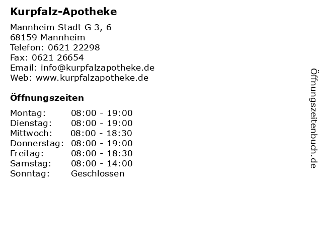 Kurpfalz-Apotheke in Mannheim: Adresse und Öffnungszeiten