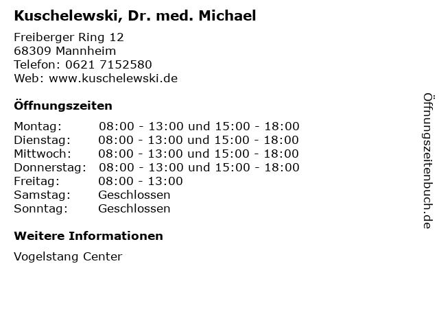 Kuschelewski, Dr. med. Michael in Mannheim: Adresse und Öffnungszeiten