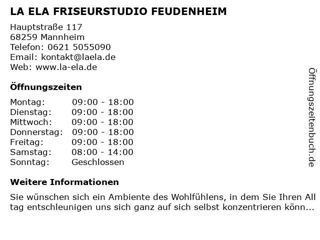 La Ela Friseursalon in Mannheim-Feudenheim: Adresse und Öffnungszeiten