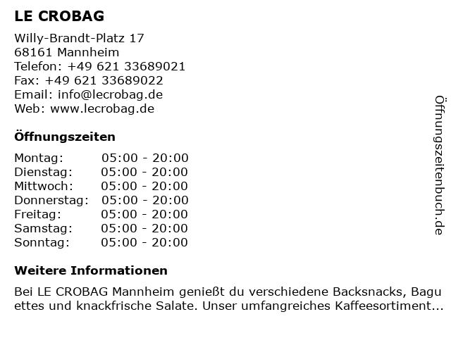 LE CROBAG GmbH & Co. KG in Mannheim: Adresse und Öffnungszeiten