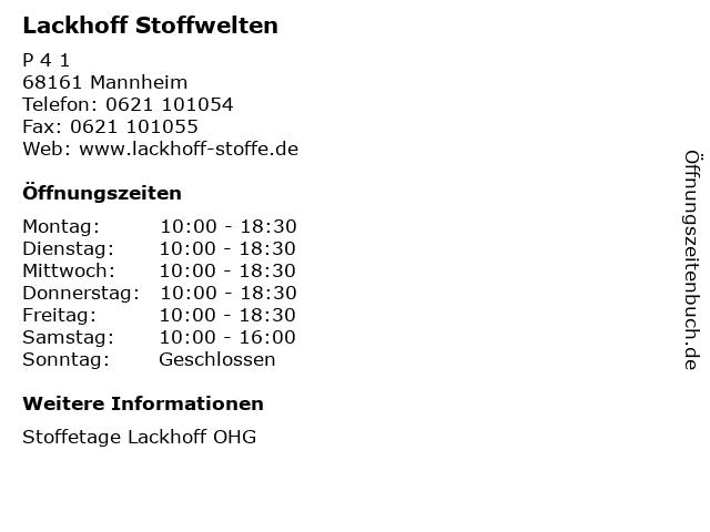 ᐅ öffnungszeiten Lackhoff Stoffwelten P 4 1 In Mannheim