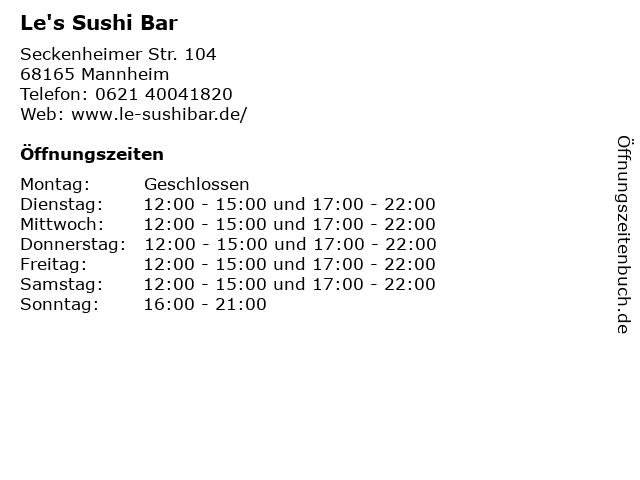Le's Sushi Bar in Mannheim: Adresse und Öffnungszeiten