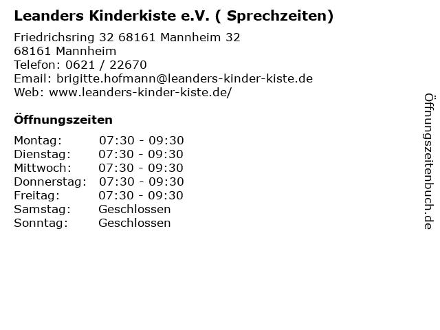 Leanders Kinderkiste e.V. ( Sprechzeiten) in Mannheim: Adresse und Öffnungszeiten