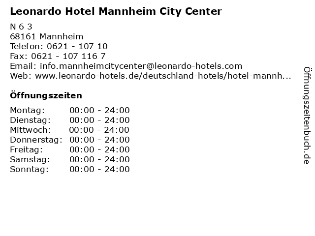 Leonardo Hotel Mannheim City Center in Mannheim: Adresse und Öffnungszeiten