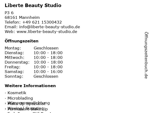 Liberte Beauty Studio in Mannheim: Adresse und Öffnungszeiten