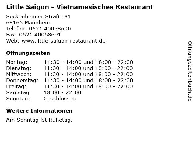 Little Saigon - Vietnamesisches Restaurant in Mannheim: Adresse und Öffnungszeiten