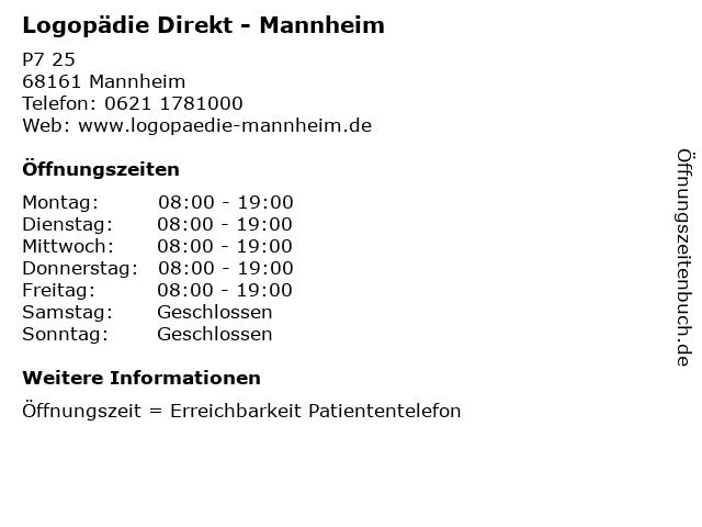 Logopädie Direkt - Mannheim in Mannheim: Adresse und Öffnungszeiten