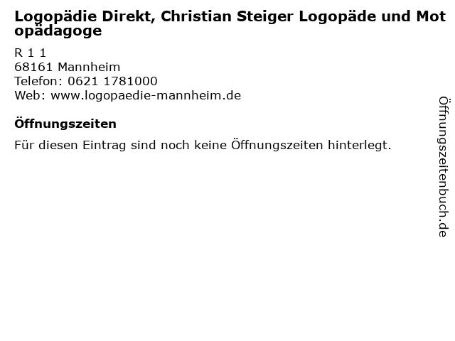 Logopädie Direkt, Christian Steiger Logopäde und Motopädagoge in Mannheim: Adresse und Öffnungszeiten