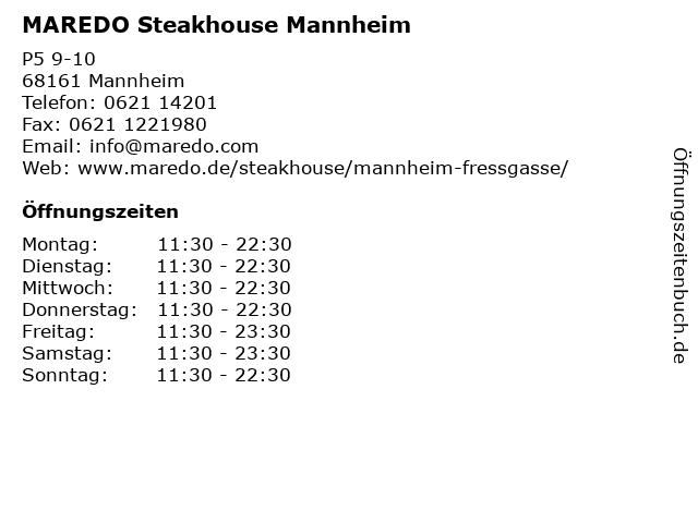 MAREDO Steakhouse Mannheim in Mannheim: Adresse und Öffnungszeiten