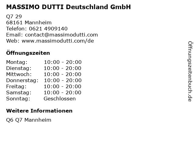 MASSIMO DUTTI Deutschland GmbH in Mannheim: Adresse und Öffnungszeiten