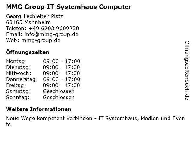 MMG Group IT Systemhaus Computer in Mannheim: Adresse und Öffnungszeiten