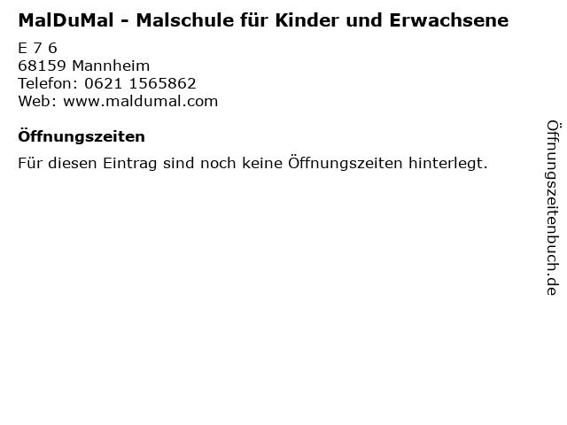 MalDuMal - Malschule für Kinder und Erwachsene in Mannheim: Adresse und Öffnungszeiten