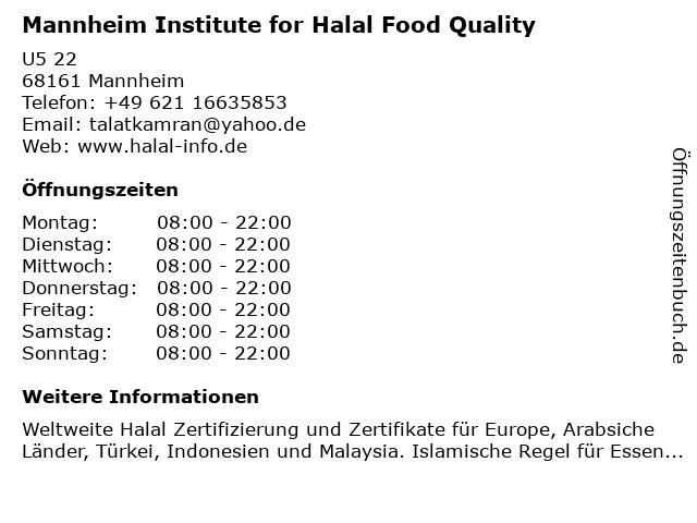 Mannheim Institute for Halal Food Quality in Mannheim: Adresse und Öffnungszeiten
