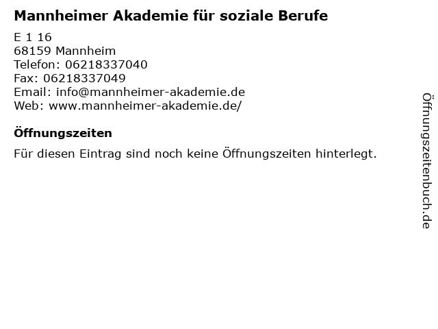 Mannheimer Akademie für soziale Berufe in Mannheim: Adresse und Öffnungszeiten