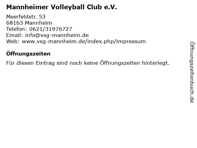 Mannheimer Volleyball Club e.V. in Mannheim: Adresse und Öffnungszeiten