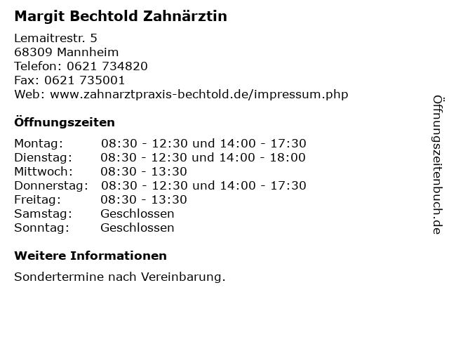 Margit Bechtold Zahnärztin in Mannheim: Adresse und Öffnungszeiten