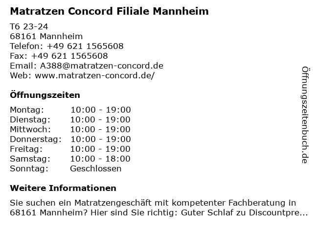 Matratzen Concord GmbH in Mannheim: Adresse und Öffnungszeiten