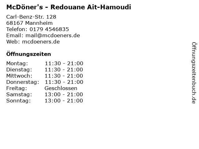 McDöner's - Redouane Ait-Hamoudi in Mannheim: Adresse und Öffnungszeiten