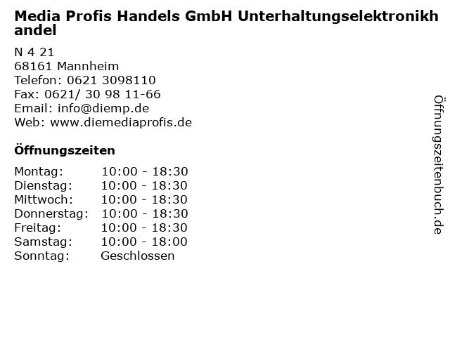 Media Profis Handels GmbH Unterhaltungselektronikhandel in Mannheim: Adresse und Öffnungszeiten