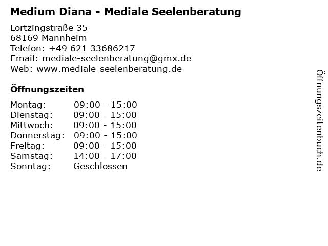 Medium Diana - Mediale Seelenberatung in Mannheim: Adresse und Öffnungszeiten