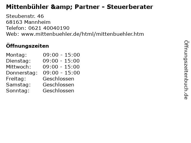 Mittenbühler & Partner - Steuerberater in Mannheim: Adresse und Öffnungszeiten