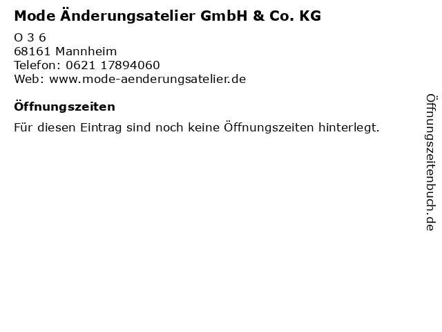 Mode Änderungsatelier GmbH & Co. KG in Mannheim: Adresse und Öffnungszeiten