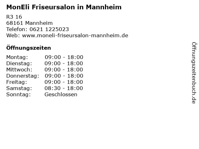 MonEli Friseursalon in Mannheim in Mannheim: Adresse und Öffnungszeiten