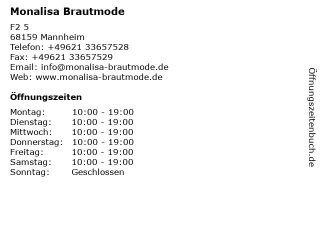 ᐅ Offnungszeiten Monalisa Brautmode F2 5 In Mannheim
