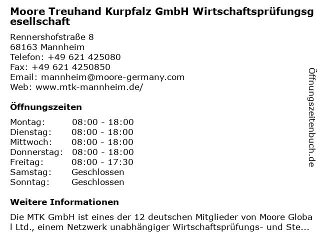 Moore Treuhand Kurpfalz GmbH Wirtschaftsprüfungsgesellschaft in Mannheim: Adresse und Öffnungszeiten