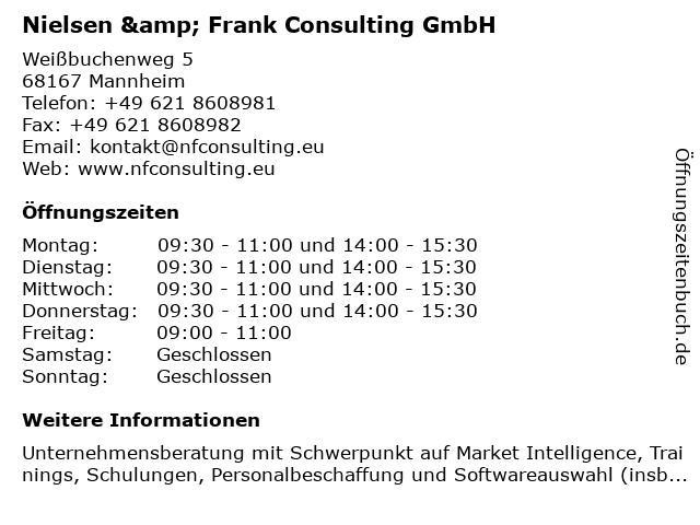 Nielsen & Frank Consulting GmbH in Mannheim: Adresse und Öffnungszeiten