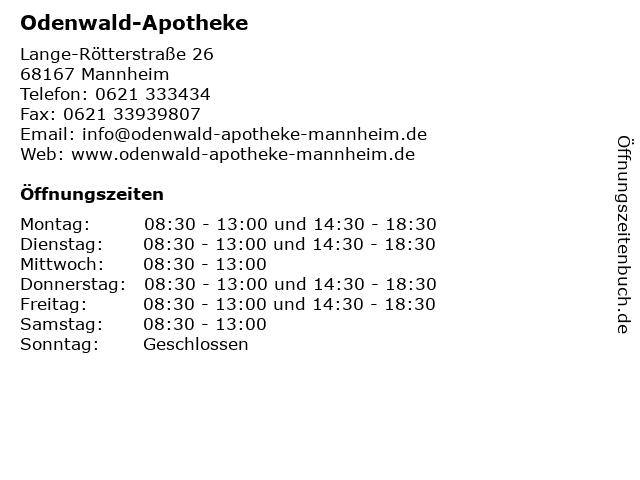 Odenwald-Apotheke in Mannheim: Adresse und Öffnungszeiten